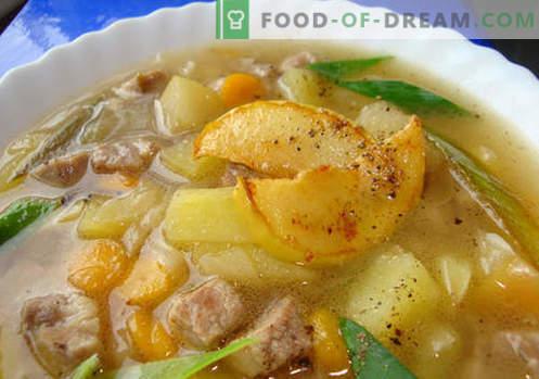Свинско супа - најдобриот рецепт. Како правилно и вкусно готви супа во свинско супа.
