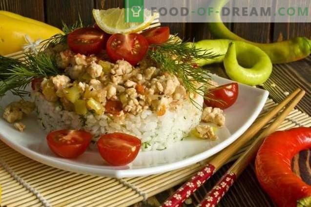 Пилешко филе со ориз и зеленчук на корејски