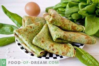 Thin pancakes with spinach