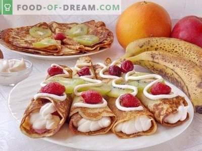 Паштети за масти на кефир со овошје и шлаг