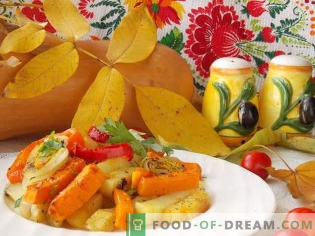 компири на рерната со тиква и зеленчук