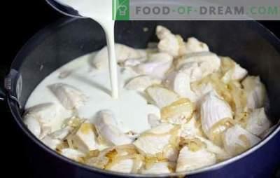 Пилешко во крем сос во тава е нежно! Готвење пилешко во крем сос во тава со зеленчук, печурки, сирење