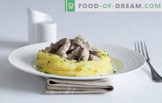 Говедски строганов со печурки - поздрав до грофот Строганов! Готвење говедско месо stroganoff со печурки, свинско, говедско месо, пилешко и зеленчук