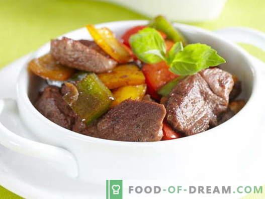 Месо со слатка (бугарска) пиперка - најдобри рецепти. Готвење правилно месо со слатки пиперки.