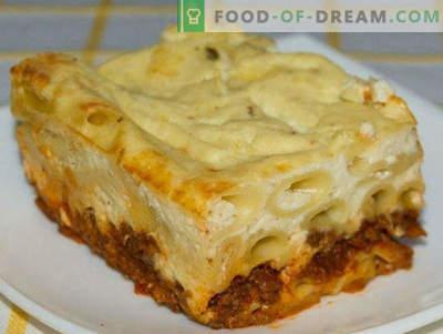Pasta-Auflauf mit Hackfleisch im Ofen, mit Käse und Gemüse, Schritt für Schritt