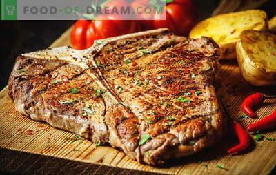 Како да пржете со стек за да бидете совршени. Колку да ја пржете во тава, скара или јаглен, кисели краставички и сосови