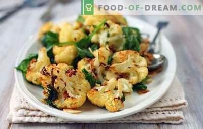 Што може да се готви од карфиол брзо и вкусно е првиот и вториот курс, гарнир и предјадење. Едноставни јадења од карфиол
