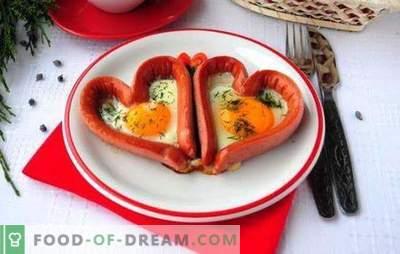 Пржени јајца со колбаси - вкусна, задоволувачка, романтична! Рецепти од различни пржени јајца со колбаси: срца, мешани, пржени јајца