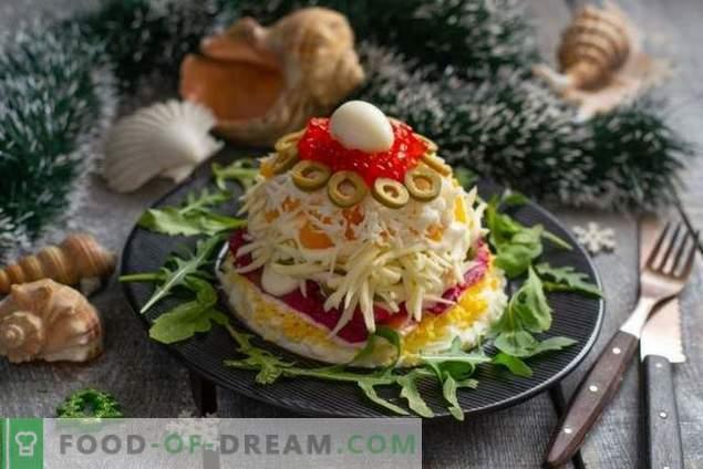 Новогодишна салата со црвена риба и кавијар
