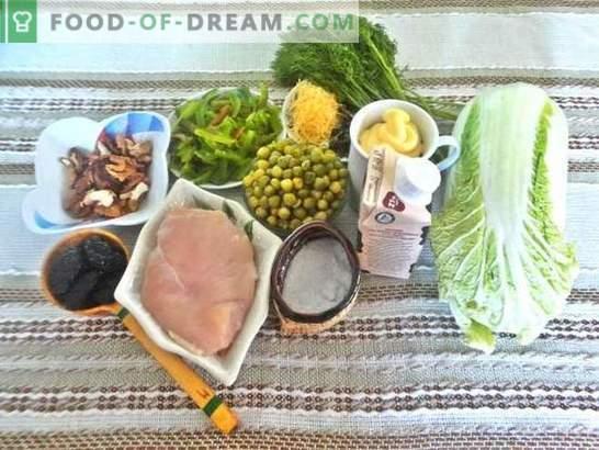 Салата со гради: рецепт со фотографии. Чекор по чекор опис на неверојатна салата со гради, сливи, сирење и кинеска зелка