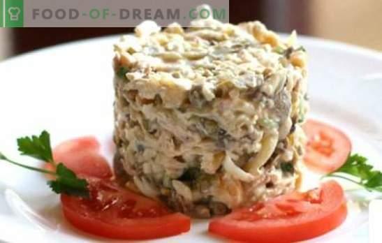 Салата од пилешко и шунка - најдобри докажани рецепти. Вкусна салата со пилешко и шунка: додадете печурки, ананас или ореви?