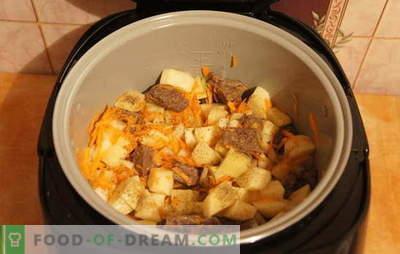 Запечен компир со месо во бавниот шпорет: одмор! Рецепти за компониран компир со месо во бавен шпорет: едноставен и комплексен