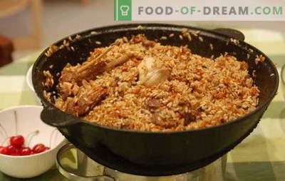 Comment faire cuire du pilaf dans un chaudron? Recettes anciennes pour la cuisson de pilaf friable dans un chaudron en fonte: avec différents types de viande