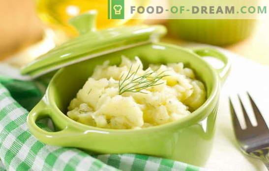 Едноставен и разноврсен гарнир - пире од компири со млеко. Пире од компири со млеко, како независно јадење
