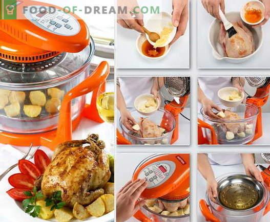 Пилешко во аерогрли - најдобри рецепти. Како правилно и вкусно готви пилешко во печки за конвекција.