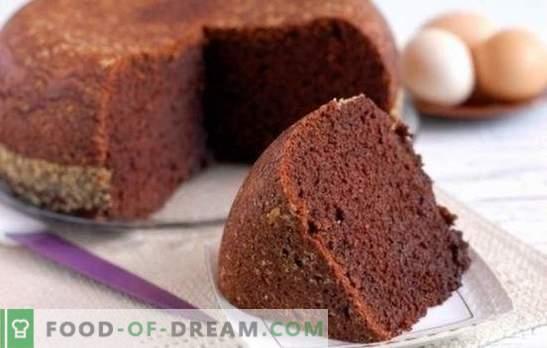 Bizcocho de cacao - cuento de hadas de chocolate! Recetas caseras para galletas de cacao: clásico, agua hervida, kéfir, crema agria con cerezas
