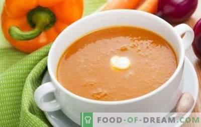 Супа од супа од зеленчук - деликатен прв курс. Готвење вкусни супа од зеленчук: домат, тиквички, тиква, брокула, спанаќ, бибер