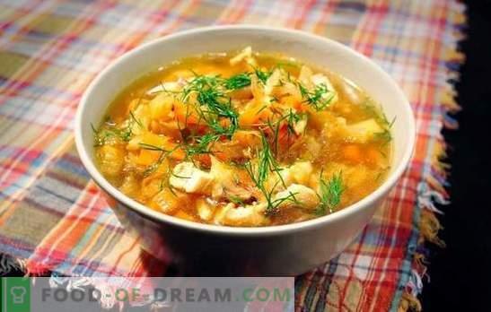 Супа од соја со свинско месо е руско јадење за сите времиња. Рецепти за супа од зелка од кисела зелка со свинско месо, печурки, грав, просо