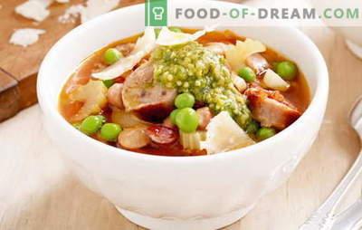 Супа со колбаси: тестенини, каша, јајца, домати. Најдобри рецепти за правење супи со колбаси за секој ден