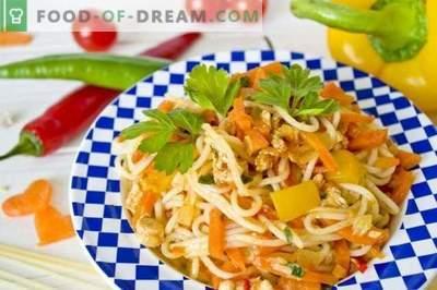 Шпагети со пилешко и зеленчук
