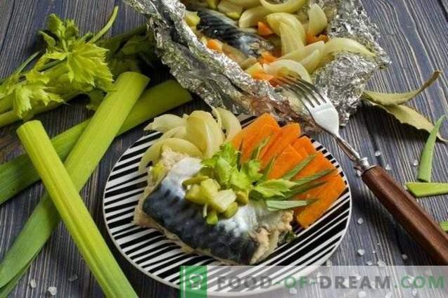 Скуша во фолија, парен со зеленчук