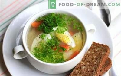 Пилешка супа со јајце - јадење за расположение и здравје! Различни рецепти за пилешки супи со јајца и зеленчук, печурки, житни култури