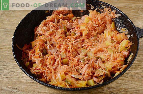 Solyanka на кисела зелка со брадавици: брз и здрав брз оброк. Авторски чекор по чекор фото рецепт за кисела зелка со колбаси и кисели краставички