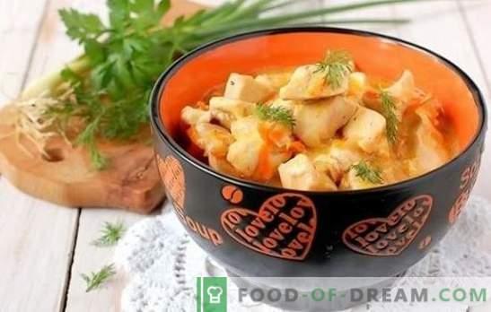 Пилешки гради во бавен шпорет: со павлака, сирење, домати, ананас. Рецепти задушени, печени, пареа, пржени пилешки гради во бавен шпорет.