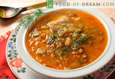 Rassolnik mit Reis - die besten Rezepte. Wie man richtig und schmackhaftes Gurke mit Reis kocht.