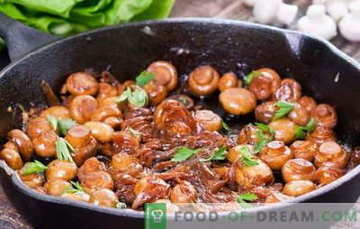 Како да се готви печурки - препораки и рецепти. Колку печурки да пржете и како да пржете печурки во садот за да го направите јадењето вкусно