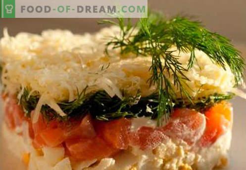 Салата од крзно со лосос - вистинските рецепти. Брзо и вкусно салата за готвење со лосос.