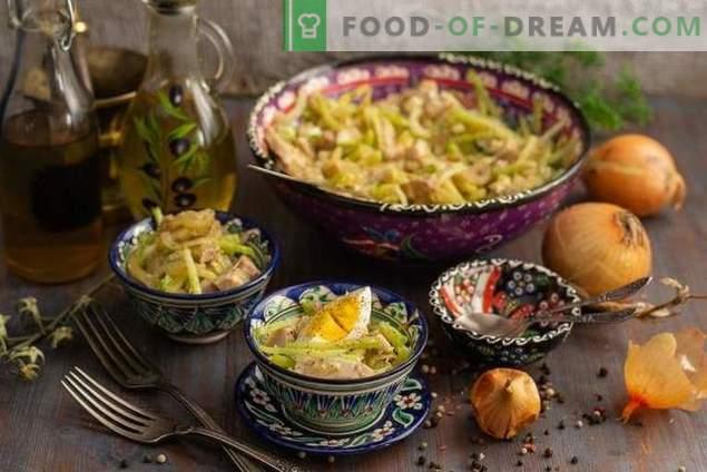 Зачинета Узбекистанска салата со месо и зелен редиш