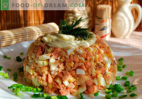 Buckliger Salat - bewährte Rezepte. Wie man einen Salat aus rosa Lachs zubereitet.