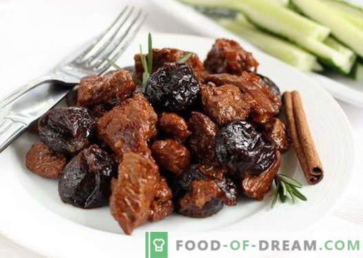 Месо со сливи - најдобри рецепти. Како да правилно и вкусно готви месо со сливи.