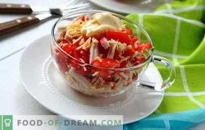 Salata de crab cu roșii și brânză este frumoasă! Salată de crab cu brânză și roșii