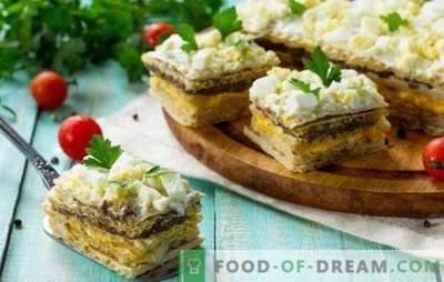 Вафли колачи со харинга - вкусно! Едноставни вафли колачи со харинга и печурки, треска црниот дроб и зеленчук