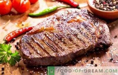 Како да се пржи свинско стек во тава со лук, зачини и сенф. Ние ќе испржиме сочно стек на свинско месо во тава!