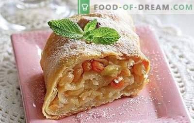 Јаболко Струдел: Чекор по чекор рецепт за популарен десерт. Шпорет за готвење со јаболка, сушено овошје, бобинки и ореви со чекор по чекор рецепти
