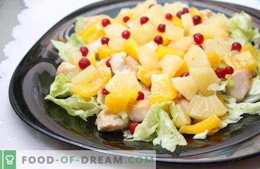 Салати од ананас се најдобри рецепти. Како правилно и вкусно да се подготват салати со ананас.