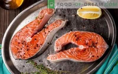 Лосос од лосос во тава, во рерна, на скара. Шест варијанти на лосос стек со компири, лимон, зеленчук