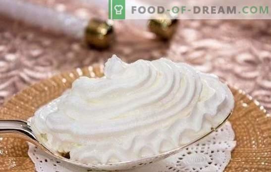 Чекор по чекор рецепти на нежен и воздушен протеин крем. Готвење крем кремски крем како десерт или за печење (чекор по чекор)