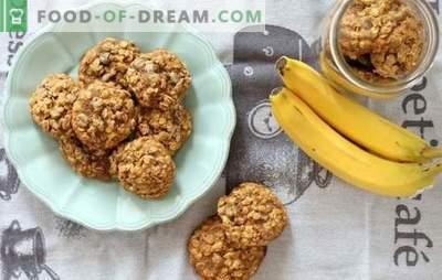 Овес колачиња со банани: мирисна и здрава десерт за појадок. Готвење опции за овес колачиња со банани, сушено овошје, урда, ореви и чоколада
