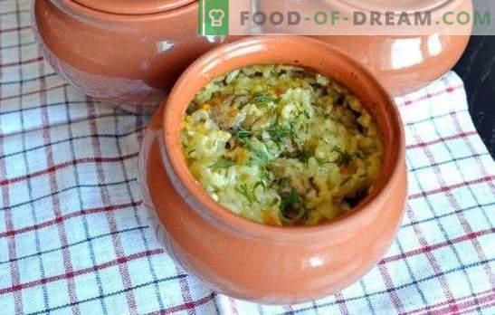 Кондензиран пилаф во рерната веќе е традиција. Рецепти пилаф во саксии во рерна со свинско месо, пилешко, говедско месо, печурки, риба
