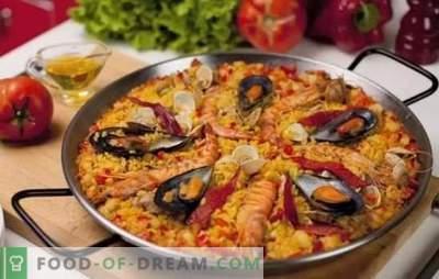 Paella со морска храна - plov во шпански стил. Готвење паела со морска храна и грав, пченка, грашок, риба