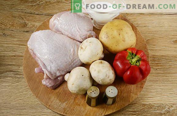 Пилешко печен со компири: чекор по чекор фото рецепт. Печете пилешко со компири, бибер и печурки - минимален напор, прекрасен резултат!