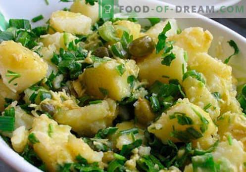 Компирска салата - докажани рецепти за готвење. Како да се готви компир салата.