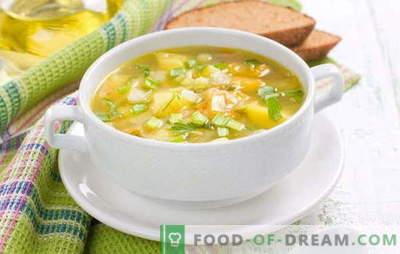 Готвење супа од грашок без месо: јадење без екстра калории. Печурки, зелка и кремасти грашок од суво грозје без месо