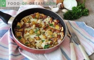 Кромид омлет - солени појадок за целото семејство. Најдобри рецепти за пржени јајца со кромид во тава, во бавен шпорет и рерна