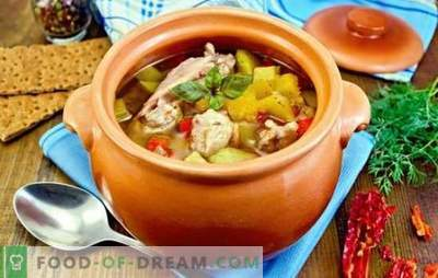 Печете во саксии со пилешко - давајте разновидност! Рецепти за печење во саксии со пилешко и печурки, зеленчук, грав