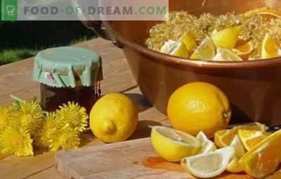 Глуварче со лимон - корисна сладост! Варијанти на глуварче со лимон, мандарина, нане, јаболко, калинка